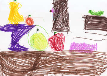 Children`s drawing a still life with apples №42799