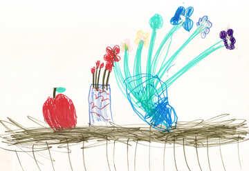Children`s drawing still life №42816