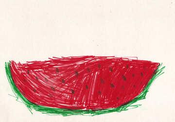 Children`s drawing watermelon №42779