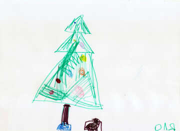 Children drawing Christmas tree №42815