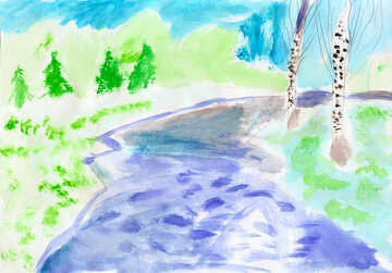 Children`s drawing river №42709
