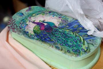 Decoupage box with peacock №42377