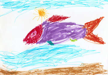 Children`s drawing of a fish №42856