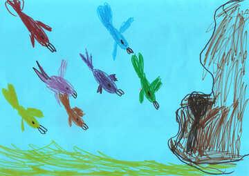 Kinderzeichnung von einem Fisch im Meer №42782