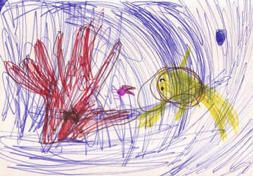 Children`s drawing fish in the sea №42850