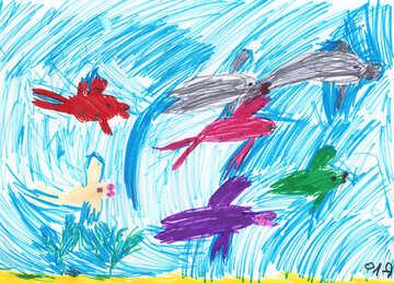 Children`s drawing underwater fish №42755