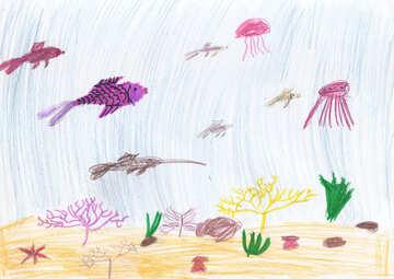 Children`s drawing the underwater world №42756