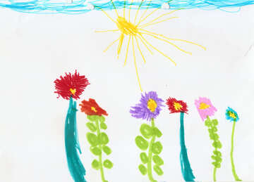 Child`s drawing of the sun flowers №42855