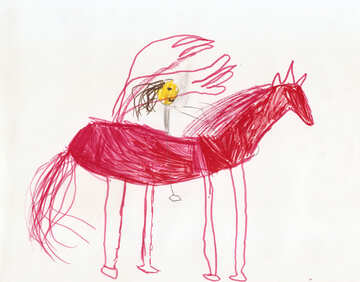 Children`s drawing a horse in the circus №42747
