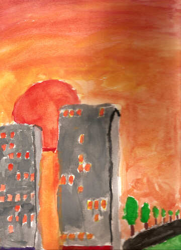 Children`s drawing of city sunset №42701