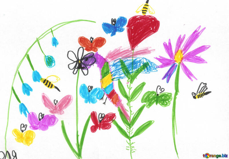 Children`s drawing flowers №42783