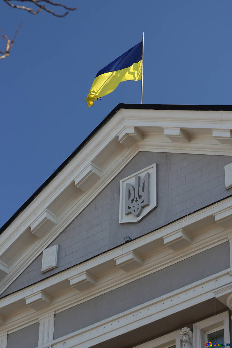 The coat of arms and flag of Ukraine on the building №42033