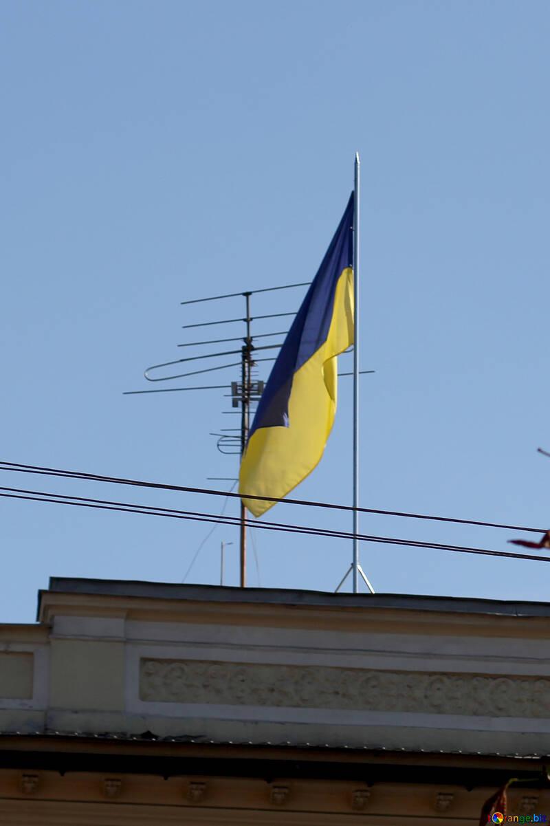 Flagge der Ukraine über das Haus №42027