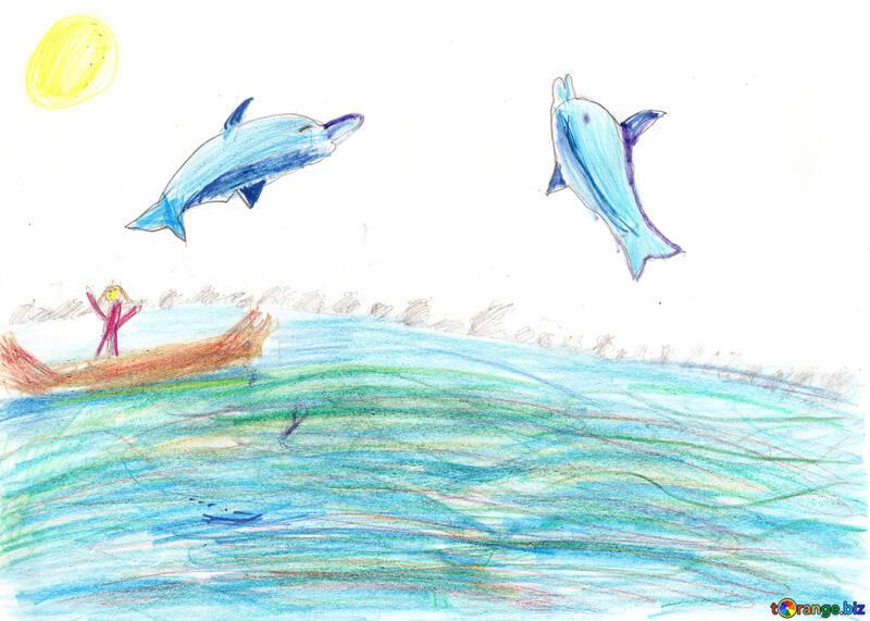 Kinderzeichnung Delphine springen №42746