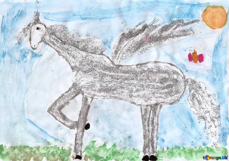 énorme réduction 293a0 d2ce4 Le dessin d'enfant d'un cheval pegasus dessin pour enfants ...