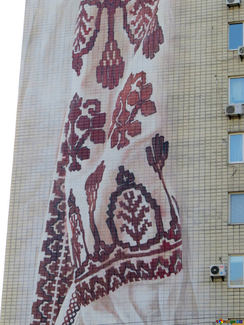 Drawing on the building Ukrainian embroidery №42278