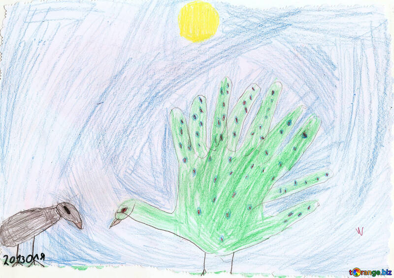 Children`s drawing of a peacock palms №42833