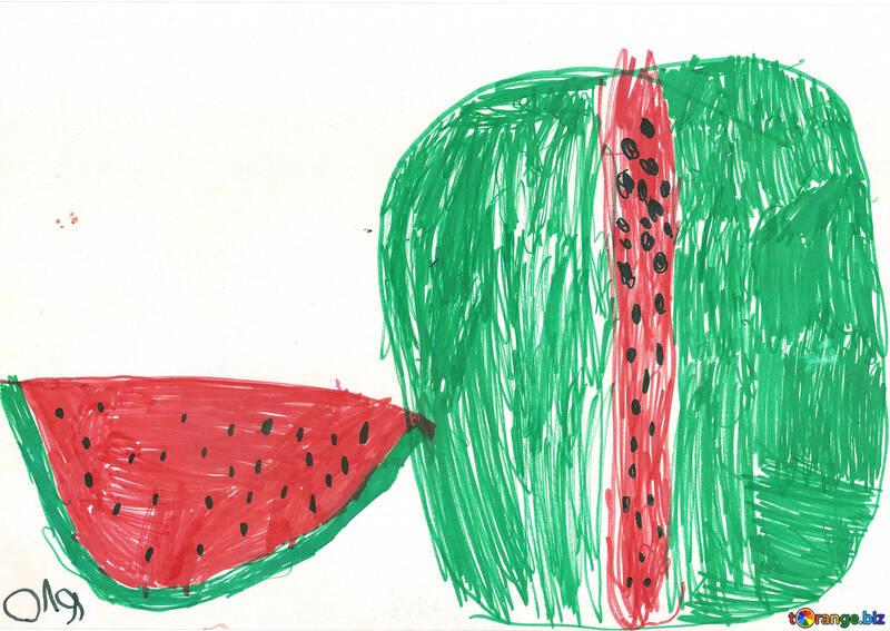 Children still life watermelon №42777