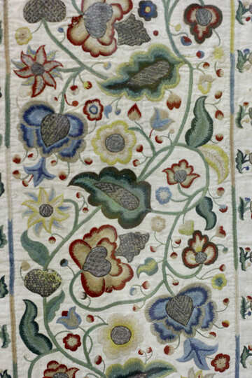 Texture of old fabric with embroidered pattern №43338
