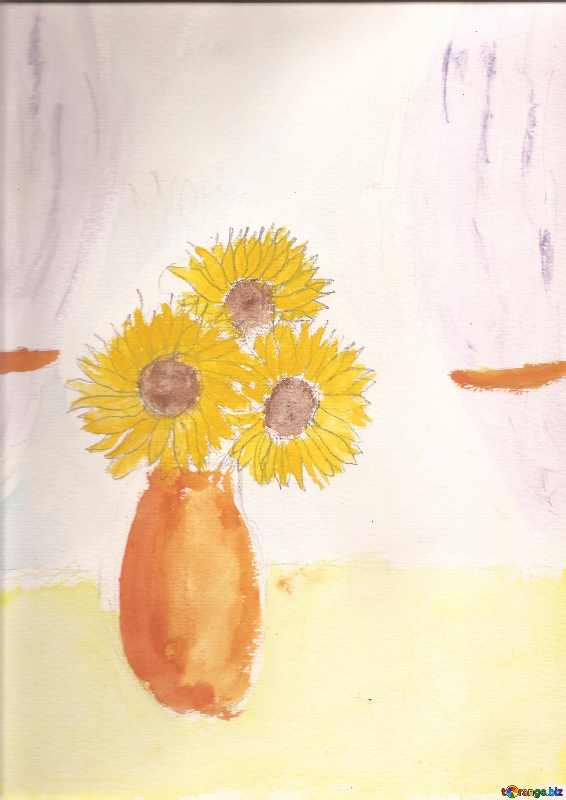 Children's drawing sunflowers
