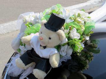 Wedding bear on the hood №44342