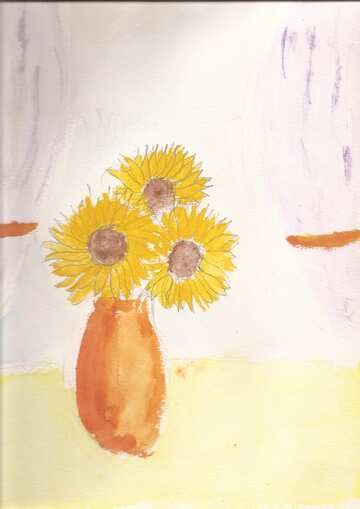 Children`s drawing sunflowers №44736