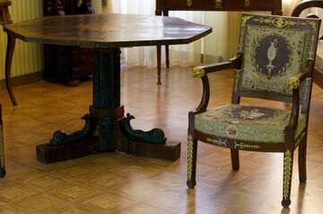 Antiker Schreibtisch und Stuhl №44193