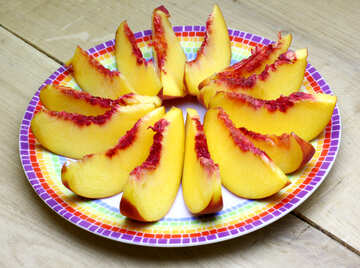 Peaches on a plate sliced №46312