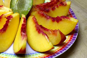 Peaches on a plate sliced №46314