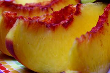 Peaches on a plate sliced №46320