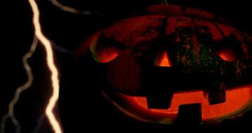Halloween pumpkin on the background of lightning №46182