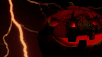 Halloween pumpkin on the background of lightning №46183