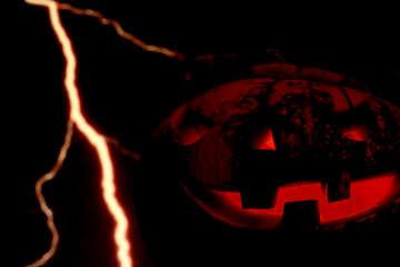Halloween pumpkin on the background of lightning №46184
