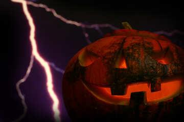 Halloween pumpkin on the background of lightning №46186