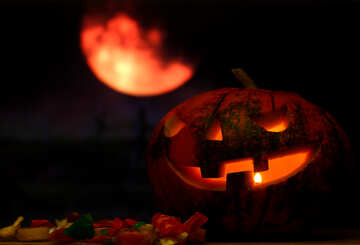 Halloween pumpkin in the background of the moon №46163