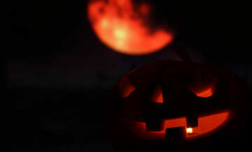 Halloween pumpkin in the night sky with the moon №46160