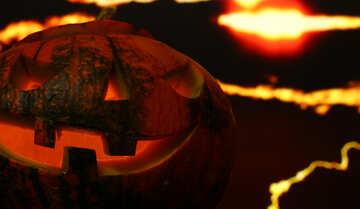 Halloween pumpkin on a sunset background №46190
