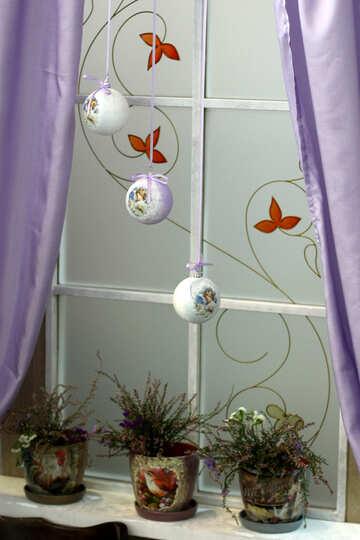 Winter window with flowers №46912