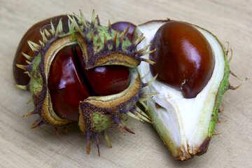 Horse chestnut on wooden background open fruit №46360