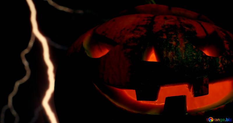 Хэллоуин тыква на фоне молнии №46182