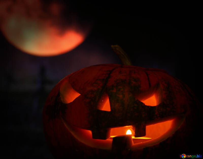 Calabaza de Halloween en el fondo de la luna №46166