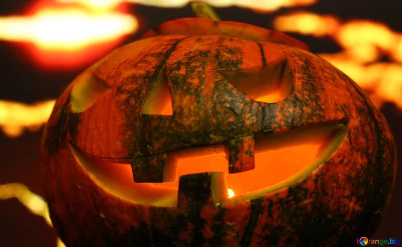 Хэллоуин тыква на фоне заката №46192