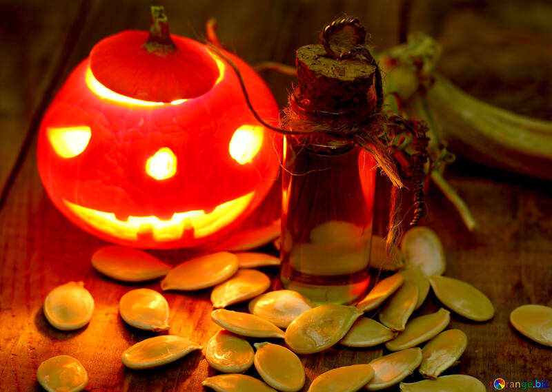 Halloween little pumpkin with seeds №46208