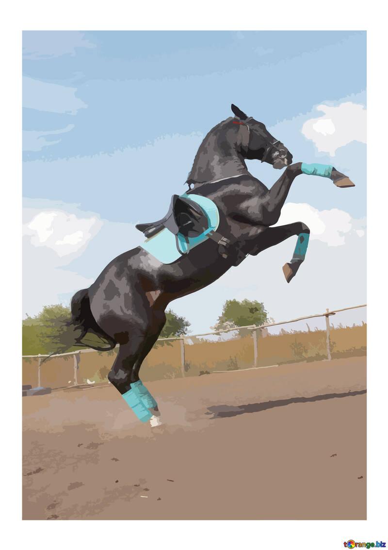 ilustración vectorial de color encabritado silueta del caballo №46152
