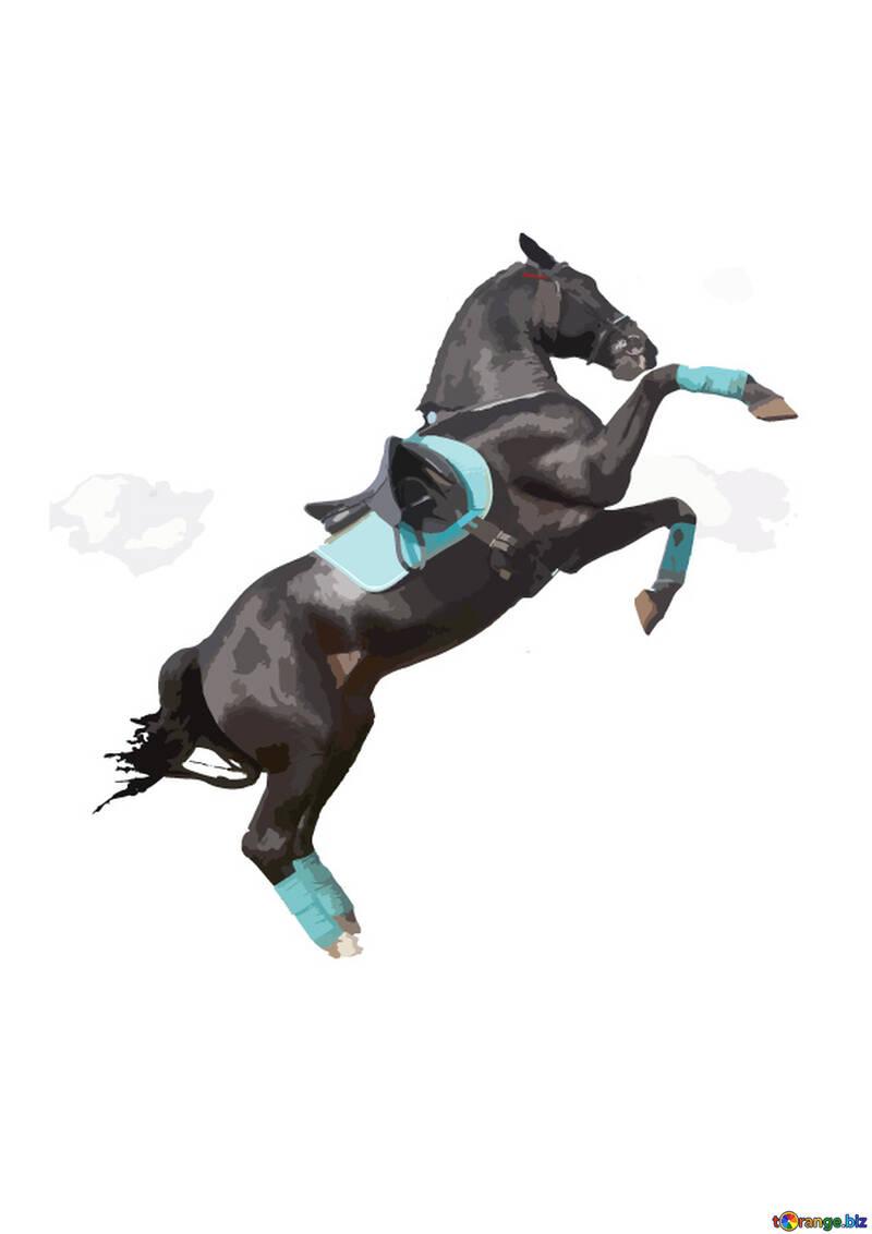 Векторные иллюстрации дыбы лошади силуэт изолировано №46153
