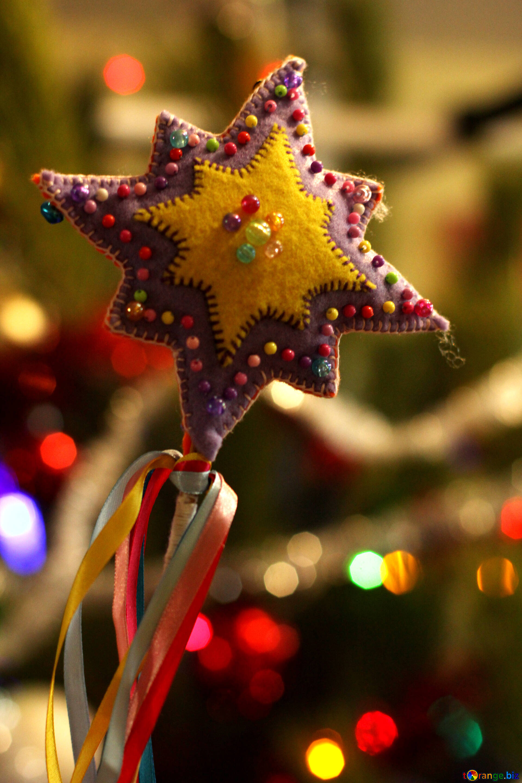 Colorful Details Of Interior Christmas Star Decoration Handmade
