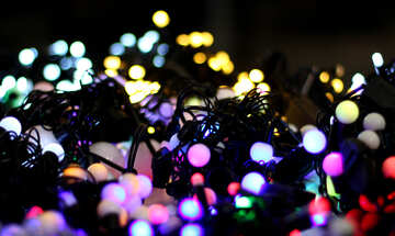 Blurred Christmas lights garlands background color №47915