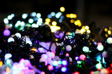 Blurred Christmas lights garlands background color №47916