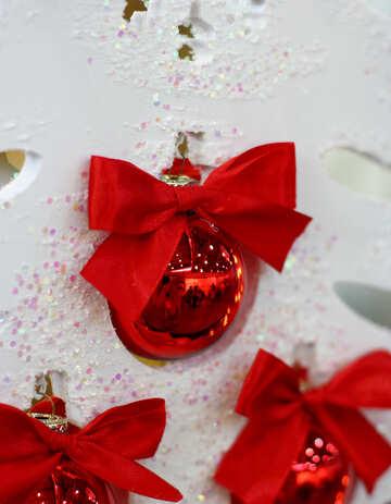 Red Christmas balls on the white Christmas tree №47695