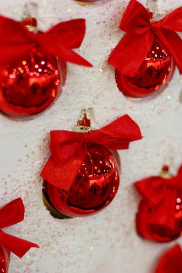 Red Christmas balls on the white Christmas tree №47697